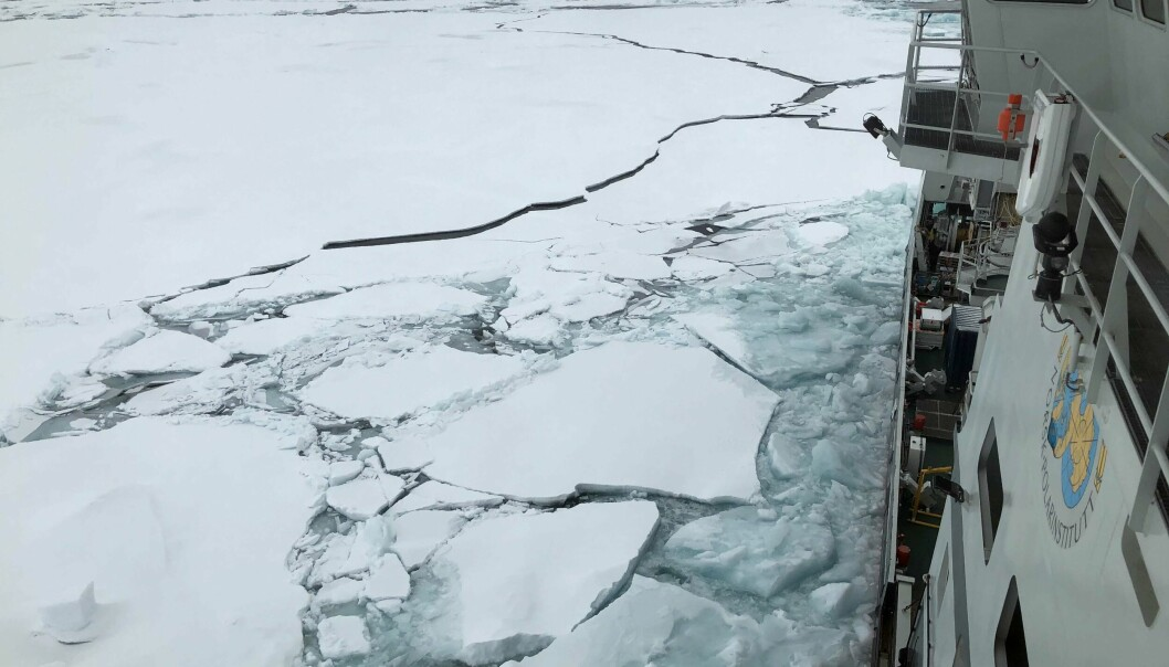 RV Kronprins Haakon is breaking ice with sediments in the Transpolar drift current