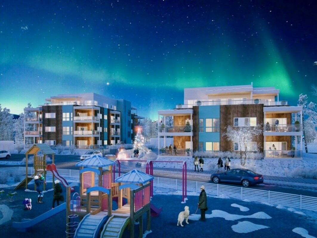 The housing shortage is not just an Oslo phenomenon. Alta in Finnmark is experiencing the same thing and has for several years had the strongest price increase in all of northern Norway. This photo shows the Elvekanten construction project.