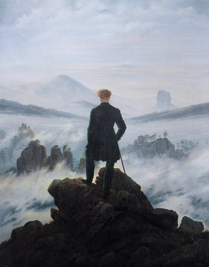 A classical painting thought to show the experience of the sublime is Caspar David Friedrich's Wanderer above the Sea of Fog, 1817
